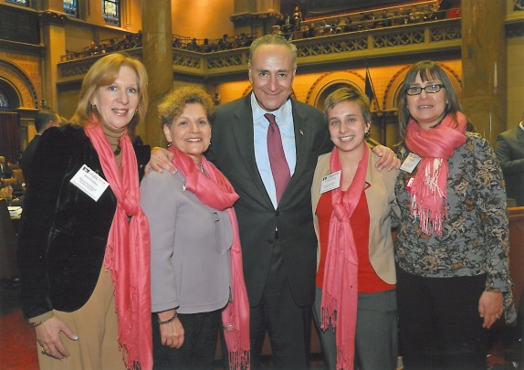 PPHP President and CEO Reina Schiffrin, Assemblywoman Ellen Jaffee, US Senator Chuck Schumer, me, and my mom!